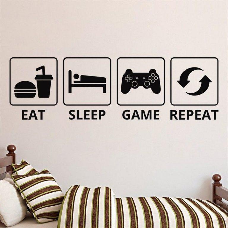 eat sleep game repeat klistermærke til hjemmet